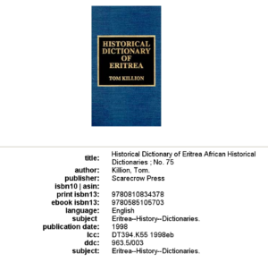 Where Should You Buy Historical Dictionary Of Eritrea?
